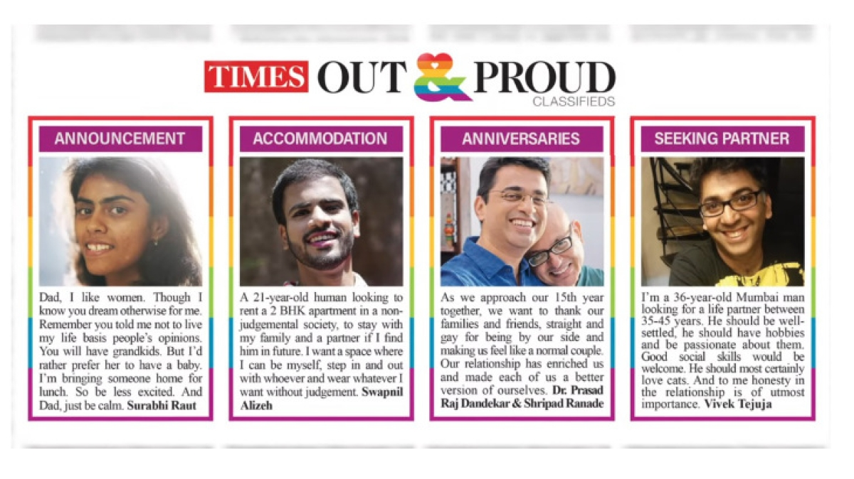 LGBTQ segment can now come out through a Times of India Classifieds ad