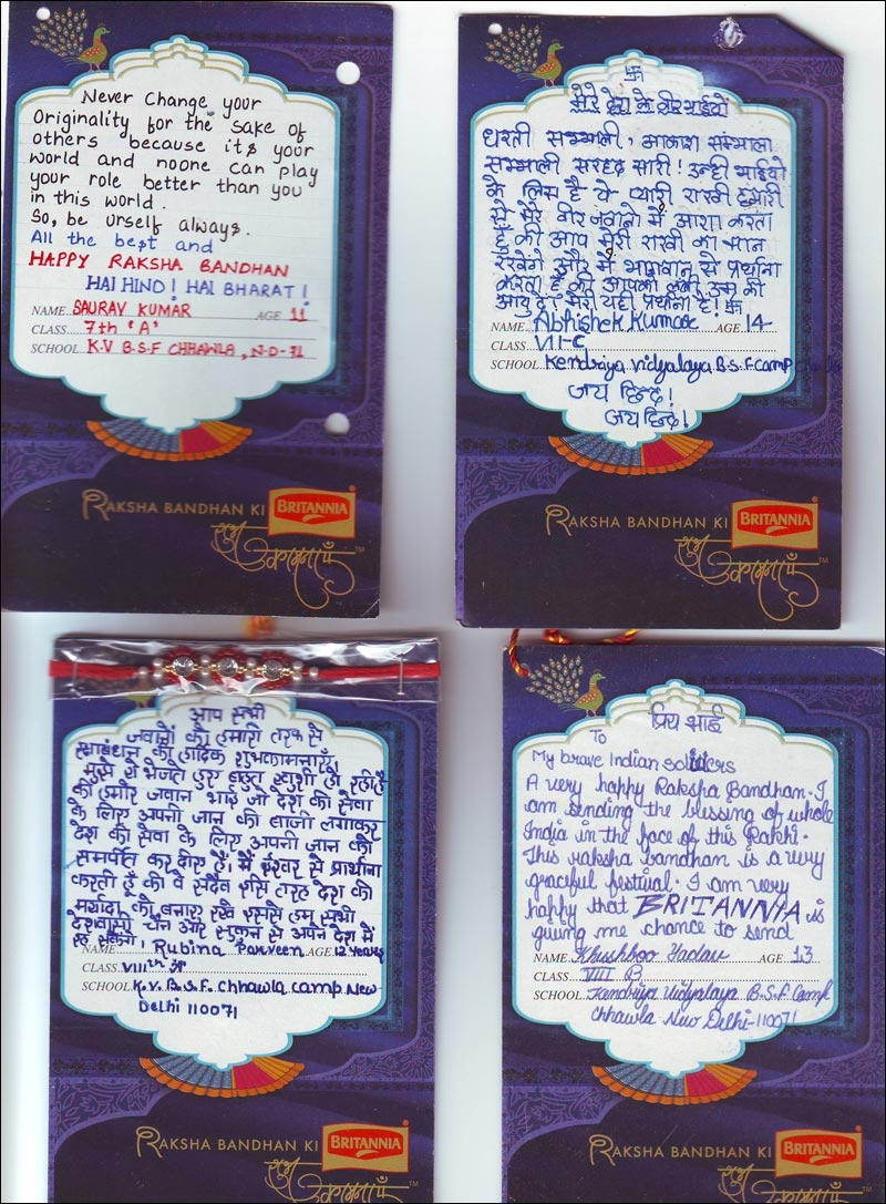 Britannia gets students to send raksha bandhan messages to jawans britannia reached out to select schools in delhi and pune and shared with the children beautiful rakhis the rakhis came with attached notes where the spiritdancerdesigns Images