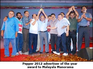 Pepper 2012 Advertiser of the year Malayala manorma