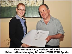 Elena Norman CEO, Hockey India and Peter Hutton, Managing Director, ESPN STAR Sports
