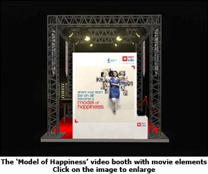 The 'Model of Happiness' video booth with movie elements