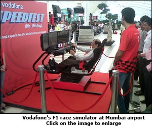 Vodafone's F1 race simulator at Mumbai airport