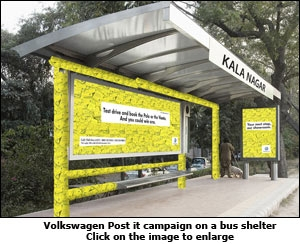 Volkswagen Post it campaign on a bus shelter