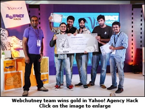 Webchutney team wins gold in Yahoo! Agency Hack