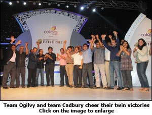 Team Ogilvy and team Cadbury cheer their twin victories