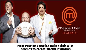 Matt Preston samples Indian dishes in promos to create strong invitation