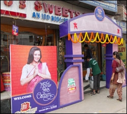 Shops in Kolkata decorated for the Cadbury Mishti wedding