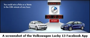 A screenshot of the Volkswagen Lucky 13 Facebook App