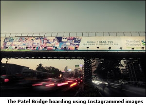The Patel Bridge hoarding using Instagrammed images