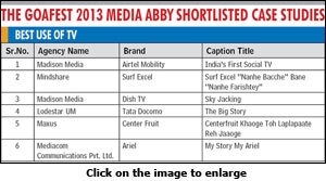 The Goafest 2013 Media Abby shortlisted case studies