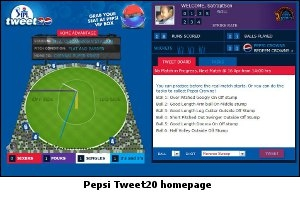 Pepsi tweet20 Home Page screenshot