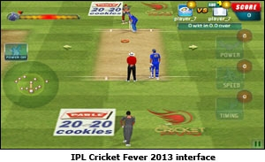 IPL Cricket Fever 2013 interface