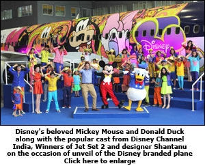 Disney's beloved Mickey Mouse and Donald Duck along with the popular cast from Disney Channel India, winners of Jet Set 2 and designer Shantanu on the occasion of unveil of the Disney branded plane