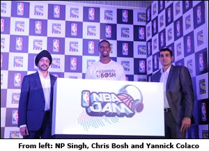 From left: NP Singh, Chris Bosh and Yannick Colaco