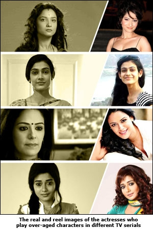 The real and reel images of the actresses who play over-aged characters in different TV serials