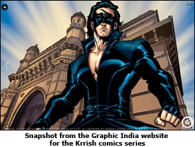 Snapshot from the Graphic India website for the Krrish comics series