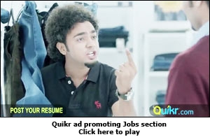 Quikr ad promoting Jobs section