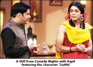 A Still from Comedy Nights with Kapil featuring the character 'Gutthi'