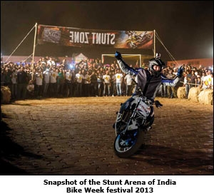 Snapshot of the Stunt Arena of India Bike Week festival 2013