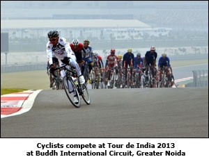Cyclists compete at Tour de India 2013 at Buddh International Circuit, Greater Noida