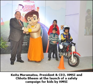 Keita Muramatsu, President & CEO, HMSI and Chhota Bheem at the launch of a safety campaign for kids by HMSI