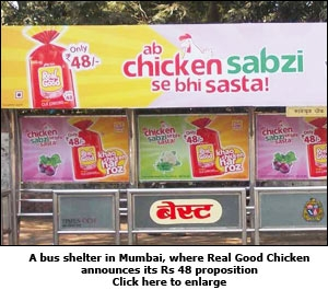 A bus shelter in Mumbai, where Real Good Chicken announces its Rs 48 proposition