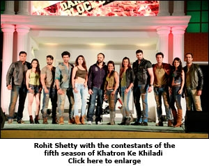 Rohit Shetty with the contestants of the fifth season of Khatron Ke Khiladi