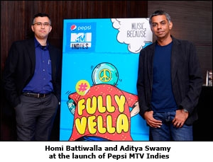 Homi Battiwalla and Aditya Swamy at the launch of Pepsi MTV Indies