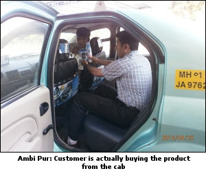 Cab Ambi: Customer is actually buying the product from the cab
