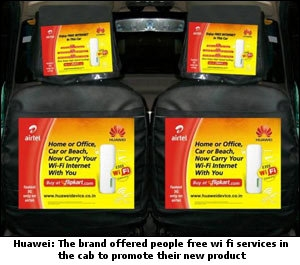 Cab Huawei: The brand offered people free wi-fi services in the cab to promote their new product