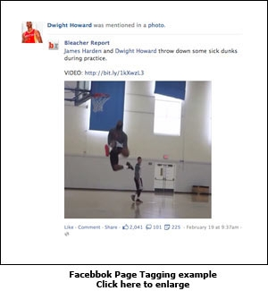 Facebbok Page Tagging example