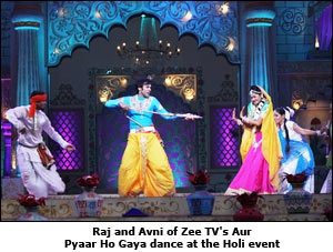 Raj and Avni of Zee TV's Aur Pyaar Ho Gaya dance at the Holi event