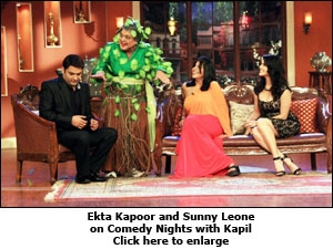 Ekta Kapoor and Sunny Leone on Comedy Nights with Kapil