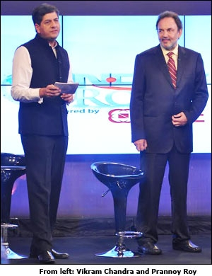 From left: Vikram Chandra and Prannoy Roy