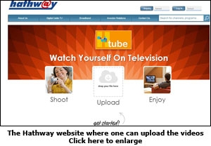 The Hathway website where one can upload the videos