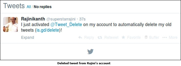 Deleted tweet from Rajini's account