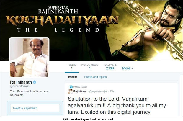 @SuperstarRajini Twitter account