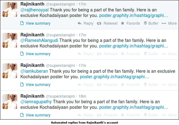 Automated replies from Rajinikanth's account