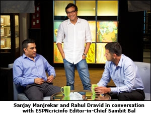 Sanjay Manjrekar and Rahul Dravid in conversation with ESPNcricinfo Editor-in-Chief Sambit Bal
