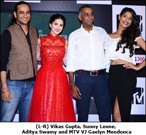 (L-R) Vikas Gupta, Sunny Leone, Aditya Swamy and MTV VJ Gaelyn Mendonca