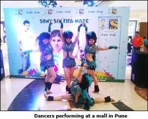 Dancers performing at a mall in Pune