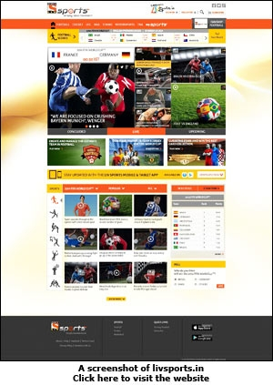 A screenshot of livsports.in