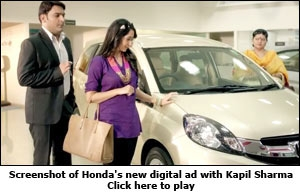Screenshot of Honda's new digital ad with Kapil Sharma
