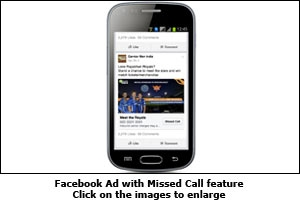 Facebook Ad with Missed Call feature
