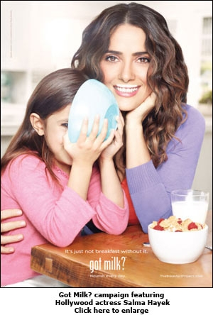 Got Milk? campaign featuring Hollywood actress Salma Hayek