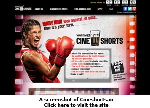 A screenshot of Cineshorts.in