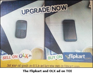 The Flipkart and OLX ad on TOI