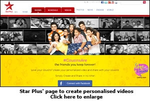 Star Plus' page to create personalised videos