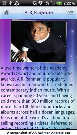 A screenshot of AR Rahman Android app