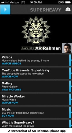 A screenshot of AR Rahman iphone app